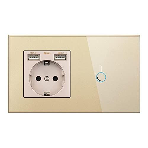 Interruptor de sensor táctil con zócalo con panel de cristal USB 146 * 86 220V 16A Toma de pared con interruptor de luz 1gang 1way-Oro_170-250v