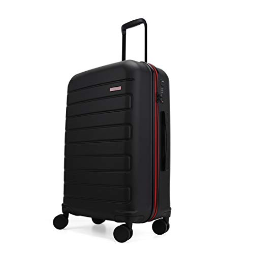 GinzaTravel Hardside Spinner, Carry-On, Wear-resistant, scratch-resistant Suitcase Luggage with Wheels (24-inch, Black color)
