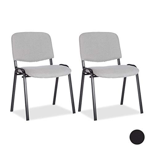 Relaxdays 10022880_111 Set di 2 Sedie Impilabili per Ospiti Poltrona Imbottita per Sala Conferenze HxLxP: 74 x 54 x 49 cm Grigio