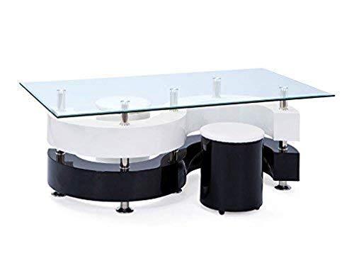 Inter Link 50100015 Couchtisch Glastisch Wohnzimmertisch Wohnzimmer Tisch Glas 2 Hocker schwarz weiß