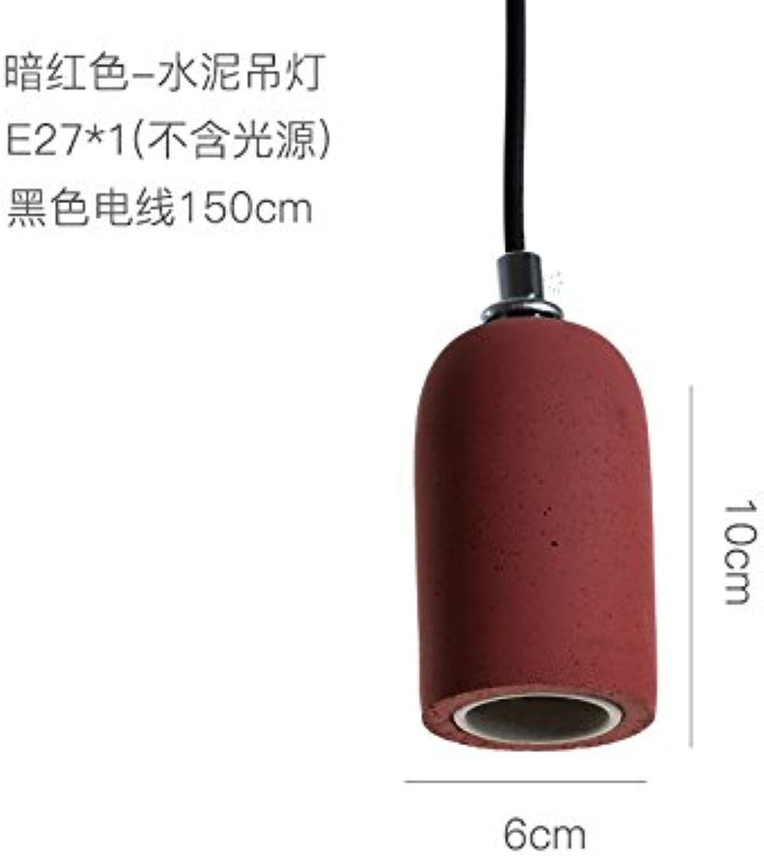 BESPD Kreative Zement Barrel Amerikanischen minimalistischen skandinavischen Farbe LED-Kronleuchter Deckenlampe Pendelleuchte Dark rot Ohne Lichtquelle)