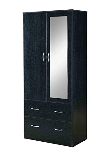 Purchase Hodedah 2-Door 2-Drawers, Mirror and Clothing Rod in Black Armoire