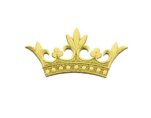 Crown W/5 Leaf Points - Embroidered Gold Rayon Iron On Applique Patch - 4''W