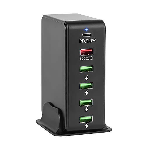 iLepo Cargador USB-C de 65 W, 6 puertos, con 1 USB-C de 20 W de entrega de potencia + 1 estación de carga QC3.0 + 4 USB para MacBook, USB C portátiles, iPad Pro, iPhone, Galaxy, Pixel y más (negro)