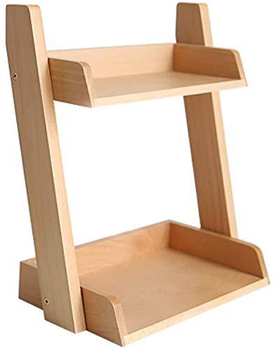 Caja de almacenamiento cosmético Pantalla de perfume cosmética, disponible para tocador, dormitorio o baño, madera,A