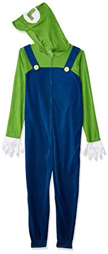 Nintendo Herren Luigi COS Play ONE Piece Pajama Union Suit Pyjama Set, Navy, Small-Medium
