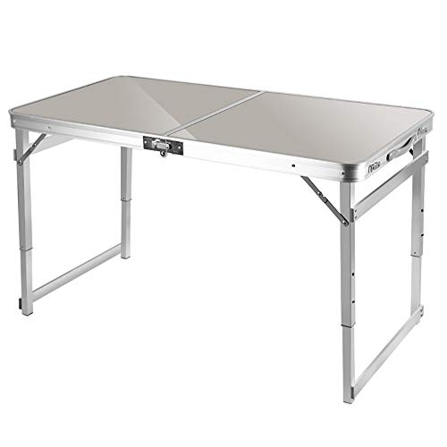 4ft Aluminum Folding Table,Folding Camping Table Portable Picnic Table,Heights Adjustable Legs Collapsible Table for Indoor Outdoor