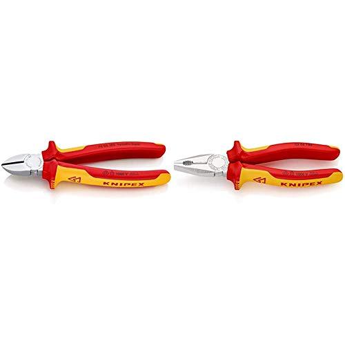 KNIPEX 70 06 180 Seitenschneider verchromt isoliert mit Mehrkomponenten-Hüllen, VDE-geprüft 180 mm & 03 06 180 Kombizange verchromt isoliert mit Mehrkomponenten-Hüllen, VDE-geprüft 180 mm
