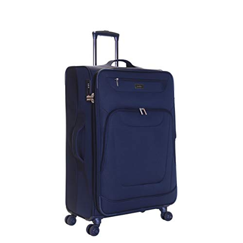 Karabar Medium Large Expandable Suitcase Luggage Bag Lightweight 68 cm 3.5 kg 70 litres Soft Shell with 4 Spinner Wheels and Integrated TSA Number Lock, Mayfair Navy Blue