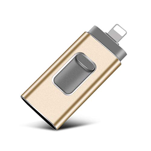 Gold512gb iOS Flash Drive for iPhone Photo Stick 512GB SZHUAYI Memory Stick USB 3.0 Flash Drive Lightning Thumb Drive for iPhone iPad Android and Computers