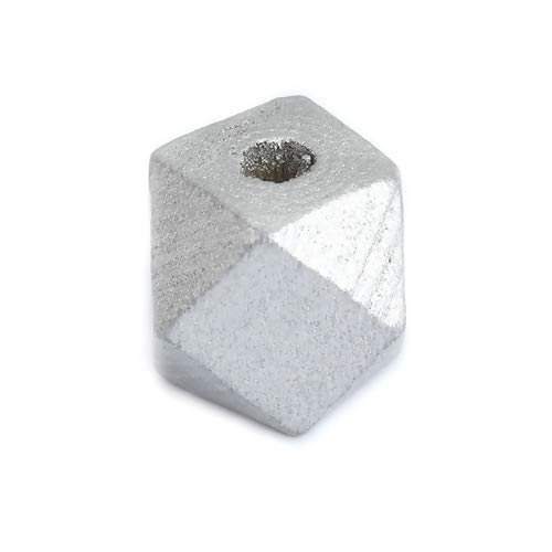 SiAura Material - 50 cuentas de madera gris plata 12 mm x 12 mm con agujero de 3,1 mm I Forma geométrica I facetada I Para manualidades, enhebrar y pintar.