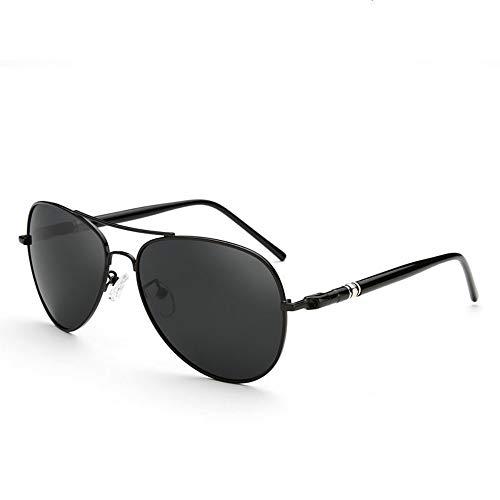 FUZHISI Gafas de Sol Marco de Metal de aviación Pierna de Primavera Aleación Hombres Gafas de Sol Polarizadas Piloto Hombre Gafas de Sol de conducción, A