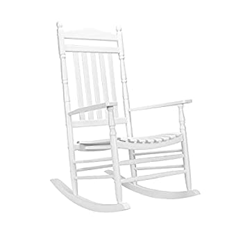 VINGLI Wood Rocking Chairs Relaxing Rocker for Deck Garden Backyard Porch Indoor or Outdoor Use with 350 lbs Weight Capacity White