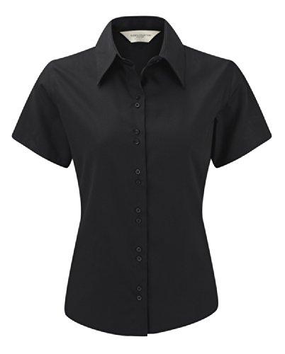 Z957F Bügelfreie kurzärmelige Damenbluse kurzarm Bluse, Farbe:Black;Größen:M