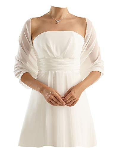 Chiffon Stola Chiffonschal - Brautstola perfekt zum Brautkleid - Festliche Chiffonstola - Abendstola - Elegant Klassisch - Hochzeit Abendkleid Abiballkleid - 230 cm x 50 cm - IVORY