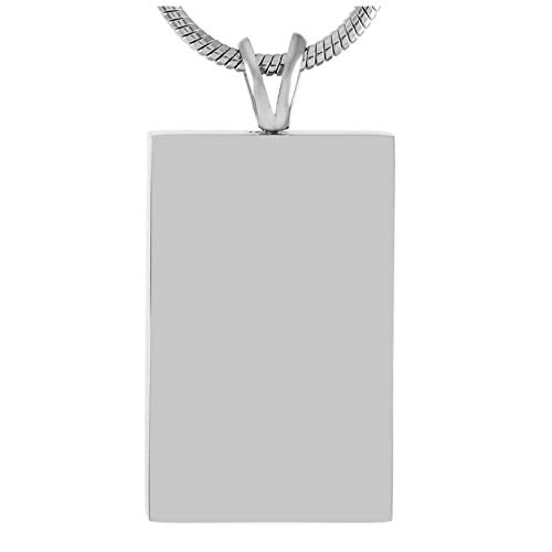Wxcvz Ceniza Collar Colgante Collar De Etiqueta De Perro De Cremación con Forma De Rectángulo En Blanco, Ataúd Funerario para Soporte De Cenizas, Medallón De Urnas De Joyería De Cremación De Recuerdo