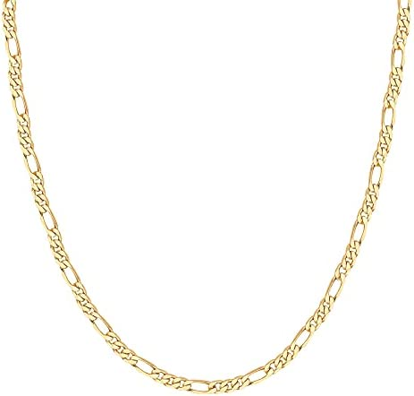 PAVOI 14K Gold Plated Curb Paperclip Box Sphere Bead Snake and Figaro Chain Adjustable Necklace