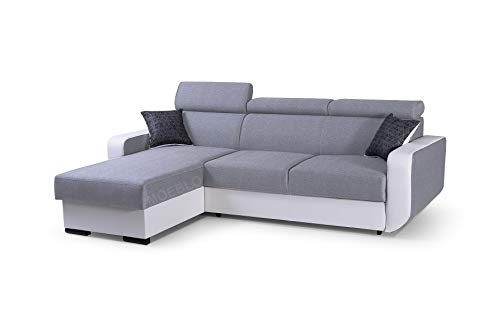 mb-moebel Ecksofa mit Schlaffunktion Eckcouch mit Bettkasten Sofa Couch Wohnlandschaft L-Form Polsterecke Pedro (Hellgrau + Weiß, Ecksofa Links)