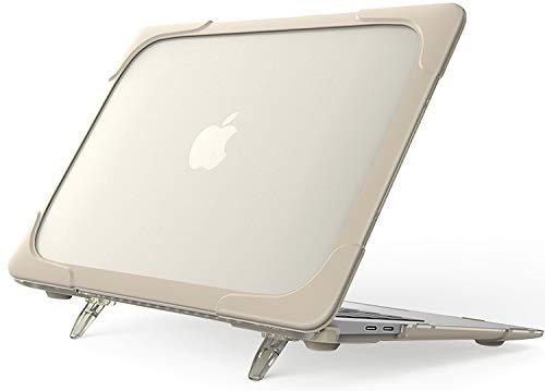 """ProCase Carcasa Transparente con Soporte para MacBook Air 13"""" M1 2020 2019 2018 A2337 A1932 A2179, Funda Rígida de Capa Doble Translúcida con Pata Plegable para MacBook Air 13 Pulgadas –Khaki"""