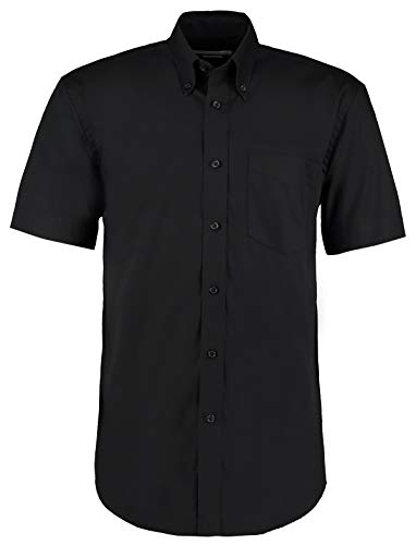 KUSTOM KIT Kustom Kit Businesshemd, Herren, kurze Ärmel, Oxford-Gewebe, einfarbig Gr. X-Large, schwarz