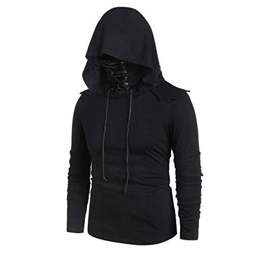 AmyGline Punk Kleidung Herren Hoodie Jacke Langarmshirt Bandage Mask Kangaroo Tasche Vintage Gothic Kapuzenpullover Mantel Sweatshirt