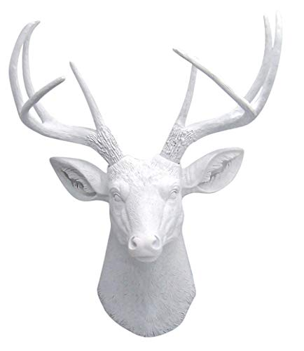 Lifelike Faux 8 Point White Deer Head Bust, Wall Mount Hanging, 23 inches