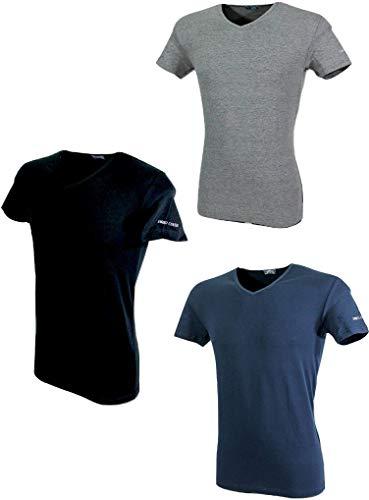 Enrico Coveri 3 t-Shirt Uomo Mezza Manica Scollo a V Cotone bielatico Art ET1001 (4/M, Nero/Blu/Grigio)