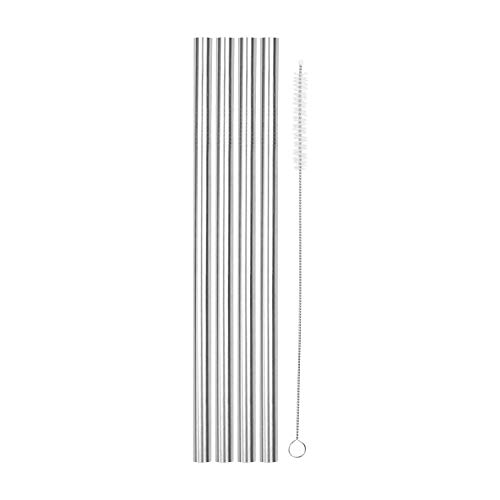 """SipWell 8.5"""" 9.5mm Straight Wide Stainless Steel Drinking Straws, 4-Pack – Dishwasher Safe & Durable Food Grade Metal Straws – Perfect for Smoothies & Cold Beverages"""
