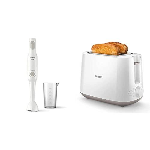 Philips ProMix Stabmixer HR2531/00 (650 W, Spritzschutz, inkl. Messbecher) weiß, Kunststoff & HD2581/00 Toaster, integrierter Brötchenaufsatz, 8 Bräunungsstufen, weiß