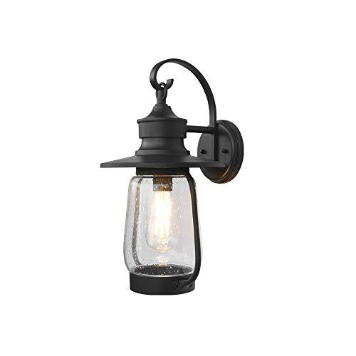 Buitenwandlamp, waterdicht, IP23 E27, zwarte wandlampen, binnen en buiten, retro design, aluminium glazen lampenkap, buitenlamp voor villa, balkon, hal, ingang, gevel, terrasverlichting
