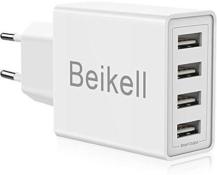 Beikell USB Ladegerät, 4-Ports High-Speed Ladeadapter USB Netzteile mit Smart Device-Adaptive Technologie 5A/25W für iPhone, iPad, Samsung Galaxy, Bluetooth Kopfhörer usw.