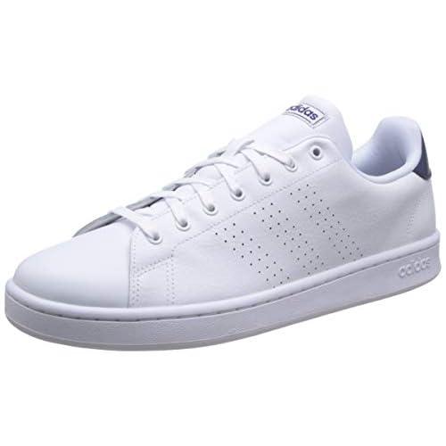 adidas Advantage, Tennis Shoe Mens, Ftwwht/Ftwwht/DKBLUE, 42 2/3 EU