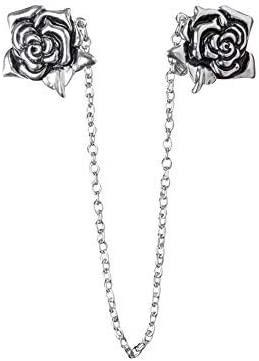 Evelots Rose Sweater online shop Collar Max 73% OFF Clip with Chain-Vintage Dress B Look