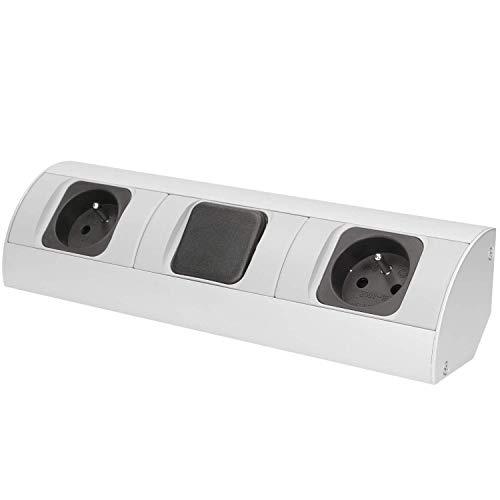 Preisvergleich Produktbild ORNO AE-1304 Ecksteckdose Küche mit Schalter 2-fach Typ E Französisch Steckdose,  3680W 16A