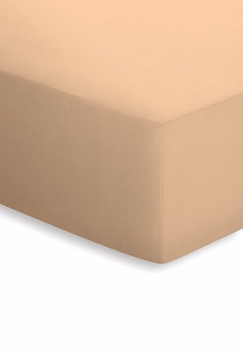 schlafgut Mako-Jersey Basic Spannbetttuch, Baumwolle, beige, 200 x 100 cm