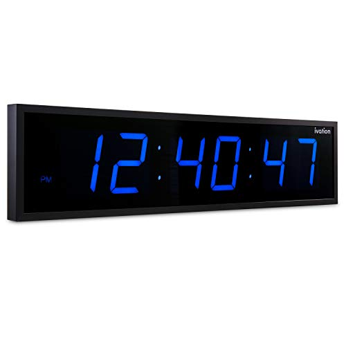 Ivation Huge Large Big Oversized Digital LED Clock - Shelf or Wall Mount (24 Inch - Blue) | 6-Level Brightness, Mounting Holes & Hardware