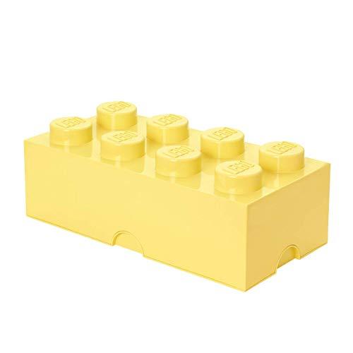 LEGO Aufbewahrungsstein, 8 Noppen, Stapelbare Aufbewahrungsbox, 12 l, hellgelb
