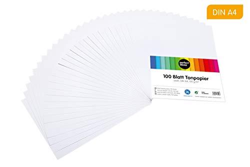 perfect ideaz 100 Blatt weißes DIN-A4 Ton-Papier, Ton-Zeichen-Papier weiß, weisse Blätter in 130g/m², Bastel-Bogen white, Zubehör-Set zum Basteln, Material durchgefärbt, DIY-Bedarf