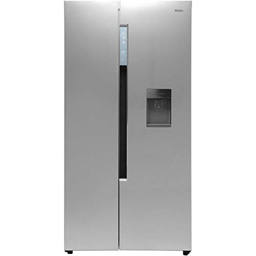 Haier HRF-522WS6 Freestanding American Side by Side Fridge Freezer with Water Dispenser, 510L Total Capacity, 90cm wide, Silver