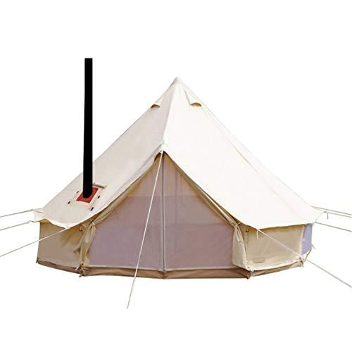 Sport Tent-wasserdichte Campingzelt Familienzelt Baumwolle Tipi Zelt mit Herdheber/Lochrohrentlüftung Indiana Zelt 5M Bell Tent Teepee Pyramidenzelt, 5M
