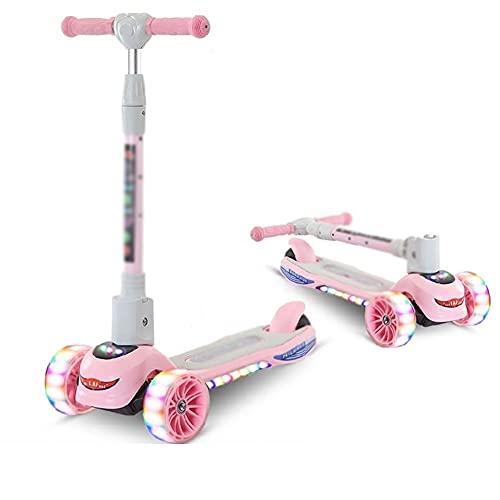 CQILONG-Scooter De Tres Ruedas para Niños, Scooter Luminoso A Prueba De Golpes De Altura Ajustable, Scooters De Una Pierna para Niños De 2 A 16 Años (Color : Pink, Size : 28X61X71-84cm)