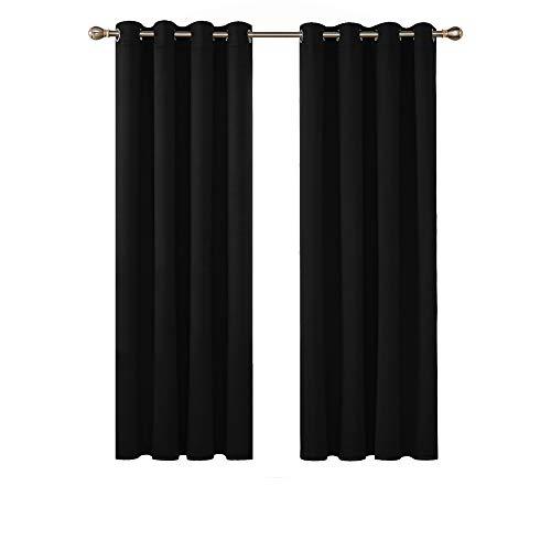 Deconovo Cortina Opacas Salon Dormitorio Moderno con Aislamiento Térmico Color Sólido Decoración Hogar con Ojales 2 Piezas 132 x 160 cm Negro