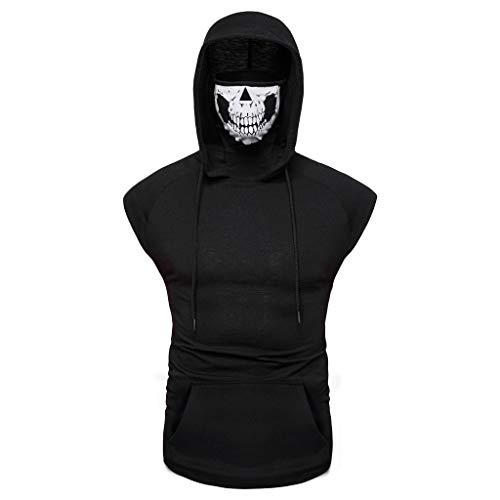 Men's Sleeveless Hoodie Top Fashion with Skull Vest Tops Basic Slim with Pockets Grey Summer Sport Comfortable Breathable Many Colours Blouses (L, Schwarz B)
