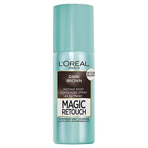 L'Oréal Paris Magic Retouch Temporary Root Concealer Spray - Dark Brown(Instant Grey Hair Coverage)