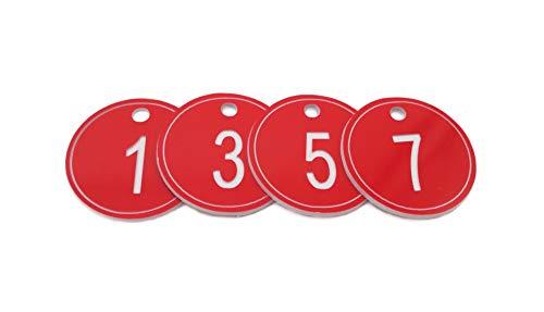 Schlüsselanhänger aus ABS (Acrylnitril-Butadien-Styrol) mit Ring, gravierte Nummernschilder, 35 mm, nummerierte Schlüsselanhänger, 50 Stück 51 to 100 rot