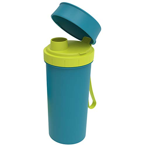 Rotho Memory Kids Trinkflasche 0,4l mit Deckel, Kunststoff (PP) BPA-frei, blau, 0,4l (7,6 x 7,0 x 16,5 cm)