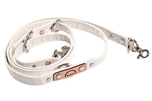 ルンカ 国産反射材使用・長さ調節3段階・シートベルト代わりにも多機能・犬用リード(〜5キロまで) 白