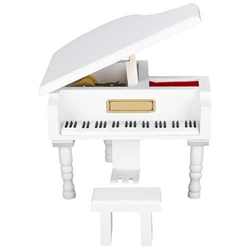 Kadimendium con Taburete Caja de música para Piano de Madera Diseño Elegante Caja de música para Piano en Miniatura, para niños Regalo de cumpleaños