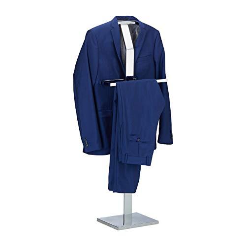Relaxdays Herrendiener, Kleiderständer aus Metall, Stummer Diener freistehend, Kleiderbutler, HBT: ca 111 x 45 x 21 cm