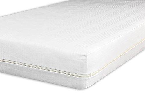V.I.P. Very Important Pillow V.I.P. Sacco Coprimaterasso in Cotone Fasciato Lavorazione Jacquard con Zip, Facile da Infilare, Singolo 90 x 200 cm, Cerniera su 3 Lati, 90 x 200 + 27 h
